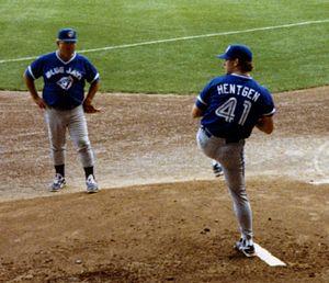 Pat Hentgen - Hentgen warms up in the bullpen in 1993; pitching coach Galen Cisco looks on