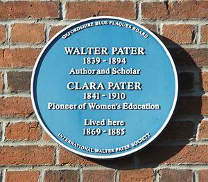 Bradmore Road - Image: Pater blue plaque, Oxford