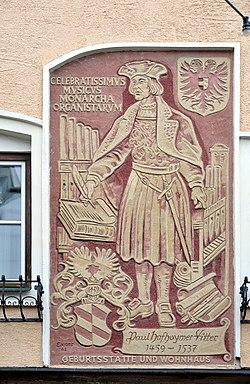 Paul Hofhaimer sgraffito, Hoheneggstraße 8, Radstadt.jpg