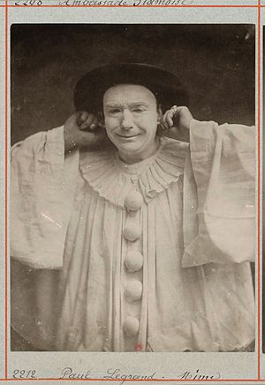 Paul Legrand - Nadar: Paul Legrand as Pierrot, c. 1857.