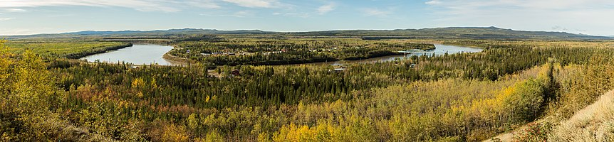 Panoramic view of the Pelly River over the location of Pelly Crossing, Yukon, Canada.