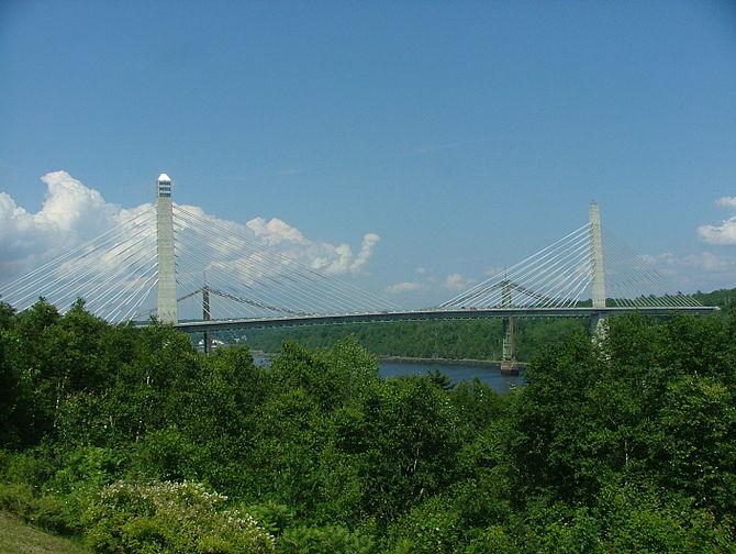 Penobscot Narrows Bridge near the mouth of Penobscot River, Maine