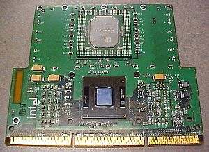 Pentium II - Pentium II Xeon 450 MHz with 512 KB cache. Cartridge cover has been removed.