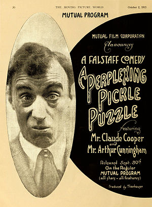 "Claude Cooper (actor) - Full page advertisement in the Moving Picture World for the 1915 silent comedy ""The Perplexing Pickle Puzzle."" The face is Claude Cooper's."