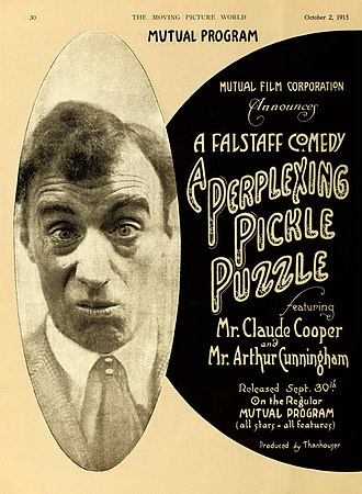 """Claude Cooper (actor) - Full page advertisement in the Moving Picture World for the 1915 silent comedy """"The Perplexing Pickle Puzzle."""" The face is Claude Cooper's."""