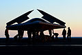 Personnel move a U.S. Navy X-47B Unmanned Combat Air System demonstrator aircraft onto an aircraft elevator aboard the aircraft carrier USS George H.W. Bush (CVN 77) May 14, 2013, in the Atlantic Ocean 130514-N-TB177-074.jpg