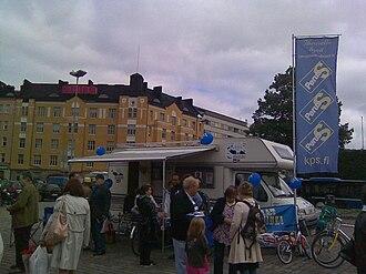 Finns Party - True Finns stall at Hakaniemi square, Helsinki in 2010.
