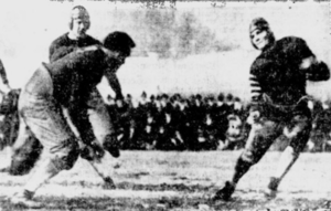 1920 College Football All-Southern Team - Georgia v. Alabama. Artie Pew is attempting to tackle Riggs Stephenson. Behind Pew is Puss Whelchel.
