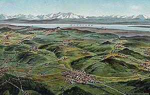 Linzgau - View over Linzgau from Pfullendorf, postcard, c. 1900
