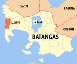 Map of Batangas showing the location of Lian.