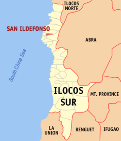 Map of Ilocos Sur showing the location of San Ildefonso