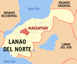 Map of Lanao del Norte with Magsaysay highlighted