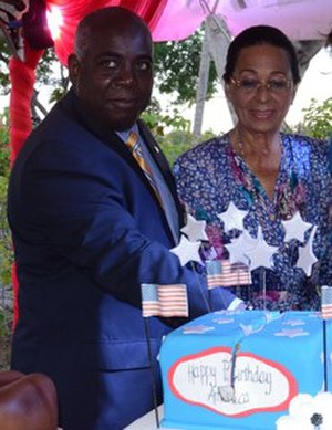 "Philip ""Brave"" Davis - Davis (left) with Marguerite Pindling (right) in 2015"