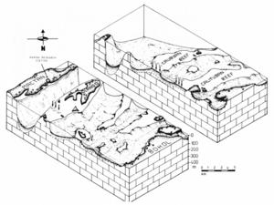 physische Darstellung des Unterseereliefs des Caubyan- und das Calituban-Riffs