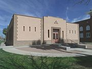 The Indian School Band Building built in 1931 and located in the compounds of Phoenix's Steele Indian School Park in 300 E. Indian School Rd. Phoenix-Phoenix Indian School-Band Building-1931.JPG