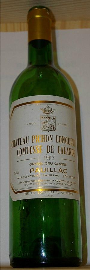 Château Pichon Longueville Comtesse de Lalande - An empty bottle of Château Pichon Longueville Comtesse de Lalande