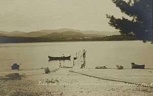 Lovell, Maine - Pier and beach at Farrington's Hotel in c. 1920