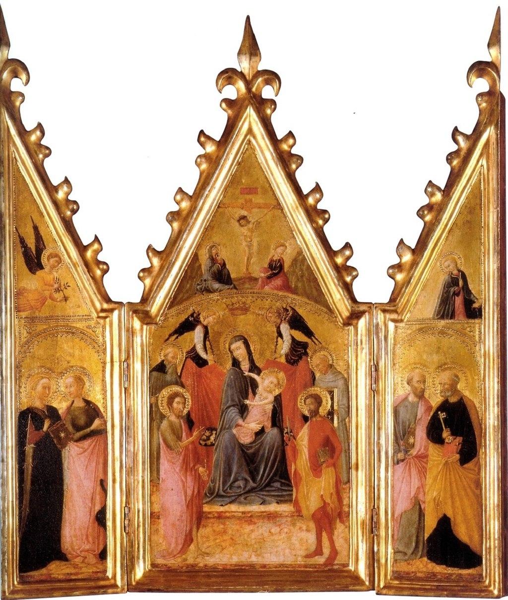 Pietro di Giovanni d'Ambrogio, Madonna col Bambino e Santi, 1444-49, Castello di Gallico (Siena), collezione Salini