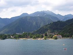 View of Pieve di Ledro and Bezzecca on Lake Ledro