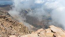 Summit view of Pikes Peak, looking north