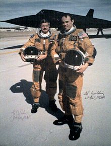 "The ""Last Flight"" of a SR-71. In background SR-71 S/N 61-7972. Foreground pilot Lt. Col. Raymond E. ""Ed"" Format:Not a typo and RSO Lt. Col. Joseph T. ""JT"" Vida, 6 March 1990."