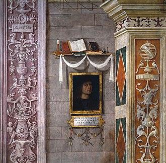 Baglioni Chapel - Detail of Pinturicchio's self-portrait in the Annunciation.
