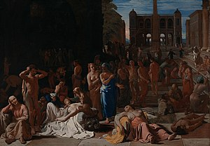 Epidemic - The Plague of Athens (c. 1652–1654) by Michiel Sweerts, illustrating the devastating epidemic that struck Athens in 430 BC, as described by the historian Thucydides
