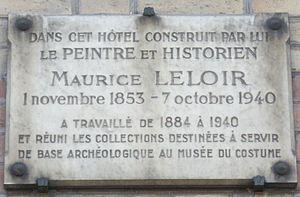 Maurice Leloir - Memorial plaque at 21 avenue Gourgaud in Paris