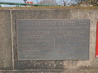Keadby Bridge - Plaque on Keadby Lifting Bridge regarding its opening on 21 May 1916