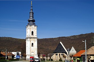 Plešivec, Slovakia - Church in the main square of Plešivec
