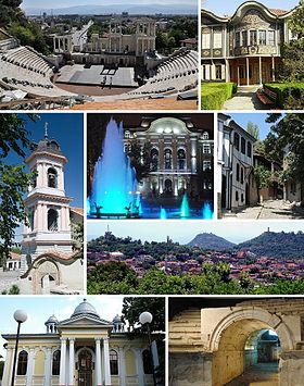Clockwise, from top left: Ancient Theatre of Plovdiv • Ethnographic Museum • Old town of Plovdiv • Plovdiv Hills • Ancient Stadium • St. St. Cyril and Methodius Church • Church of the Holy Mother of God • City Hall