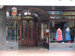 George Street, Dunedin - The ornate doorway of 310 George Street is a major feature of this historic building.