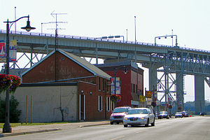 Point Edward, Ontario - Michigan Avenue with the Blue Water Bridge in the background