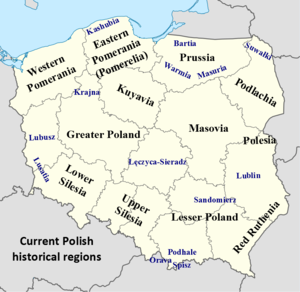 Polish historical regions - Polish historical regions in current borders