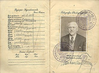 "Free City of Danzig - Polish passport issued at Danzig by the ""Polish Commission for Gdańsk"" in 1935 and extended again in 1937, before the holder immigrated to British Palestine the following year."