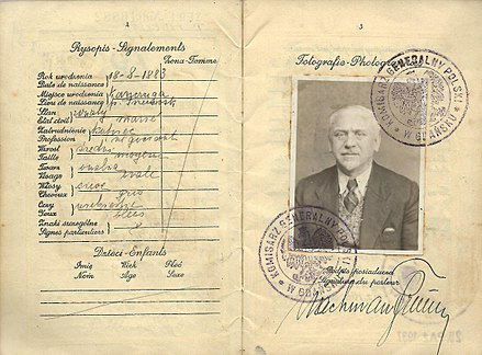 "Polish passport issued at Danzig by the ""Polish Commission for Gdansk"" in 1935 and extended again in 1937, before the holder immigrated to British Palestine the following year. Polish passport issued at Danzing, Gdansk.jpg"