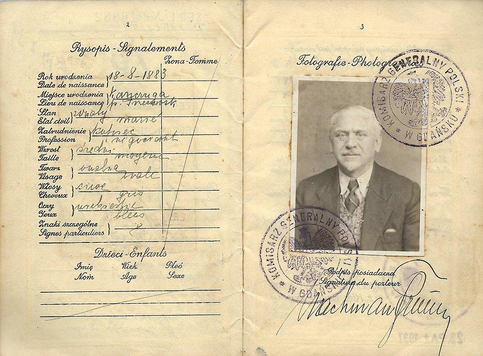 Polish passport issued at Danzing, Gdansk