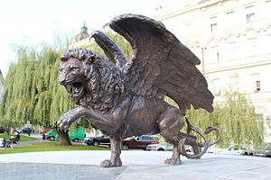 Winged lion - Image: Pomník čs. letců v Anglii Praha Klárov lev 3 4 profil zprava