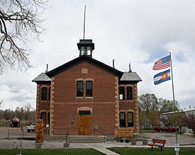 The Poncha Springs Town Hall, formerly a school