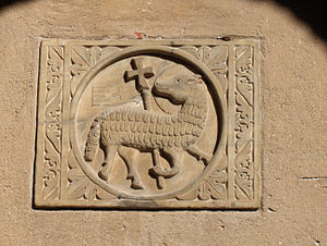Lamb of God - Medieval Agnus Dei with halo and cross;  Euphrasian Basilica, Poreč, Croatia