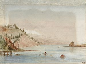 Arrow Rock (New Zealand) - Waterpainting of Port Nelson, with the small Arrow Rock on the far right.