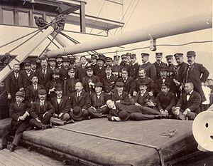Ernesto Burzagli - Aboard a Japanese naval vessel in Yokohama harbor before sailing to the Battle of Port Arthur (1904).