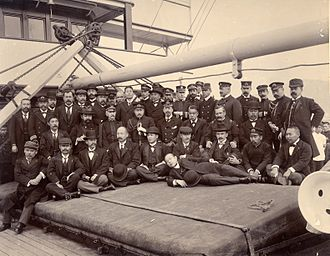 Ernesto Burzagli - Aboard a Japanese naval vessel in Yokohama harbor before sailing to the Battle of Port Arthur (1904).