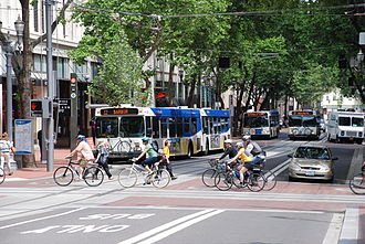 Transportation in Portland, Oregon - Buses and bikes in downtown Portland.
