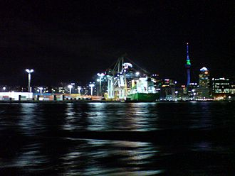 Ports of Auckland - The wharves at night, operating at all times.