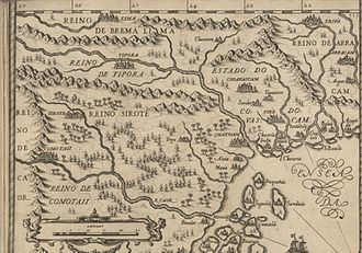 Chittagong Hill Tracts - A 16th-century Portuguese map showing the Chacomas kingdom in present-day Rangamati Hill District, north of Arakan.