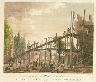 Southwark, Philadelphia - Image: Preparation for War to defend Commerce Birch's Views Plate 29
