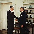 President Ronald Reagan, in the Oval Office, shaking hands with Republican Senator Jeremiah Denton of Alabama.jpg