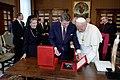 President Ronald Reagan and Nancy Reagan meet with Pope John Paul II.jpg