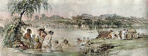 Colentina, Bucharest - Bathers in the Colentina river, 1869 watercolor by Amedeo Preziosi